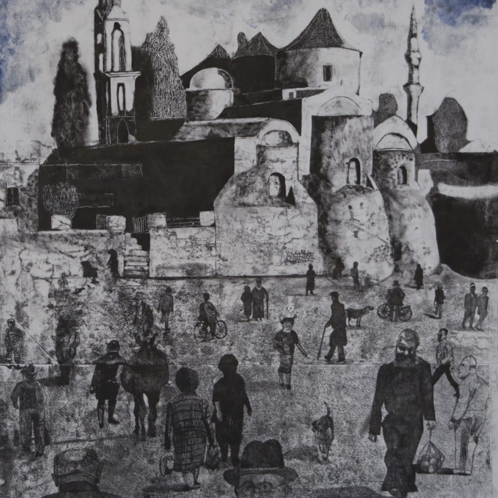 Sophie Charalambous, Comings and Goings, Monoprint on Paper. The judging panel were struck by the use of shadow, scale and perspective to create a timeless image. The theatre of the everyday has been captured beauitfully in this large-scale monoprint.