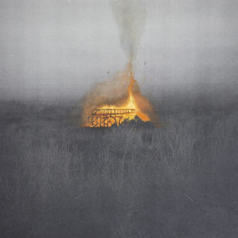 Lisa Chang Lee ARE Pond Flame, 2019, Silkscreen with hand painting and drawing, 48 x 72.3 cm. Lisa's cinematographic approach to printmaking and the use of silkscreen techniques combined with hand painting to create the effect of multiple layers, made her stand out for the judging panel. Shortlisted artist, Jerwood Printmaking Today 2020 nominated by Royal Society of Printmakers