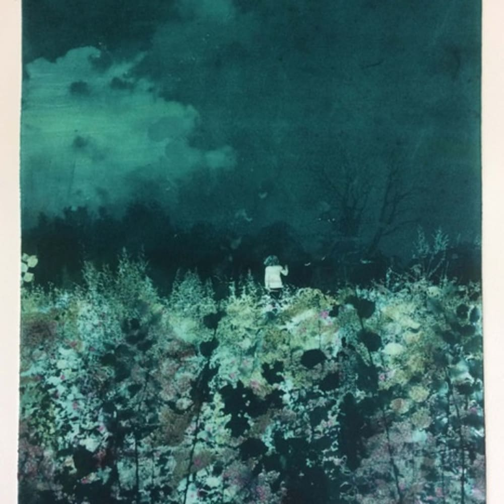 Nick Archer (b. 1963) Last Light, 2018, Hand Coloured Solar Plate Etching, 42 x 29 cm. Edition of 10. Nick's journey as a printmaker began in 2018. The judging panel were impressed by his experimentation with a traditional technique and the depth he created in this etching. Shortlisted artist, Jerwood Printmaking Today 2020 moinated by Long and Ryle