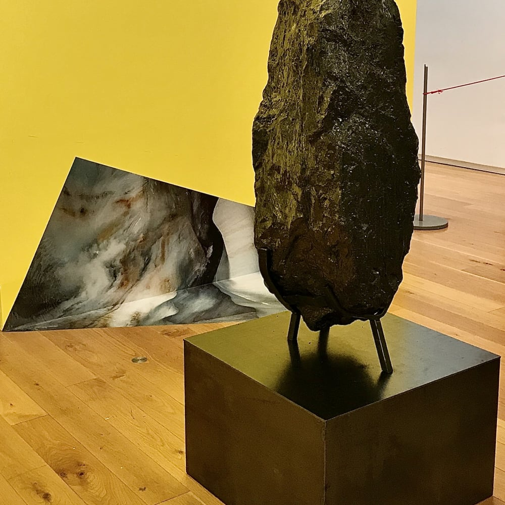 Elaine Byrne Blazing World 2020 combinatory coded narrative video, adhesive photo and sculpture ( rolled steel and anthracite coal)