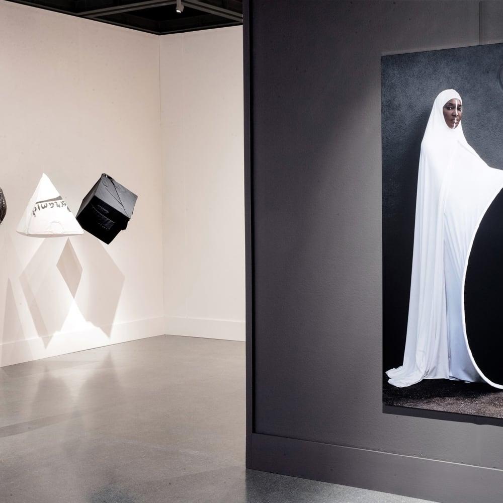 Installation view, Anrealage & Maïmouna Guerresi. Photo: Josh Bradsted