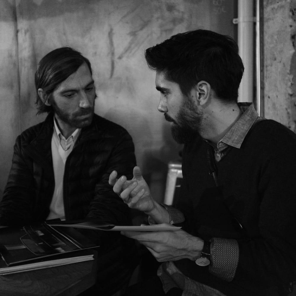 Portfolio review with artist Giacomo Brunelli. Photo: Michael Hulett