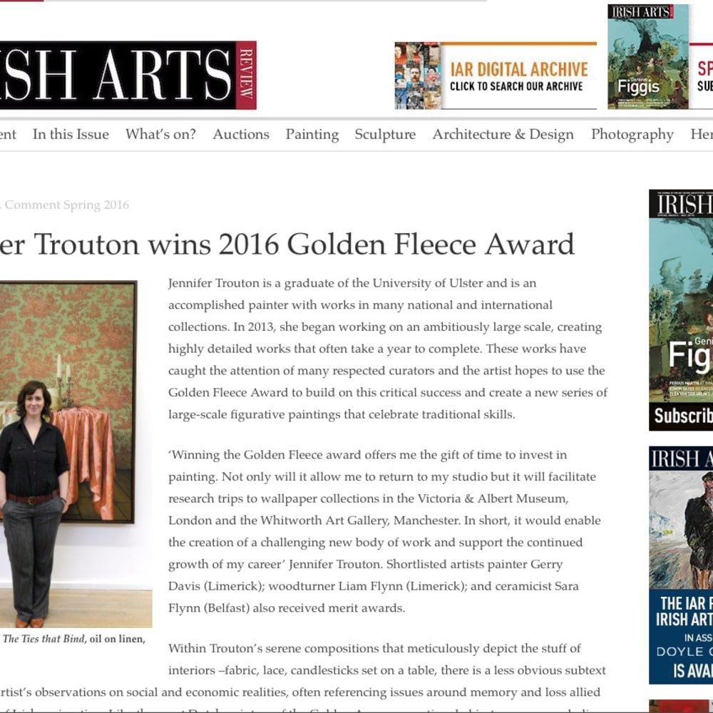 Jennifer Trouton in The Irish Arts Review
