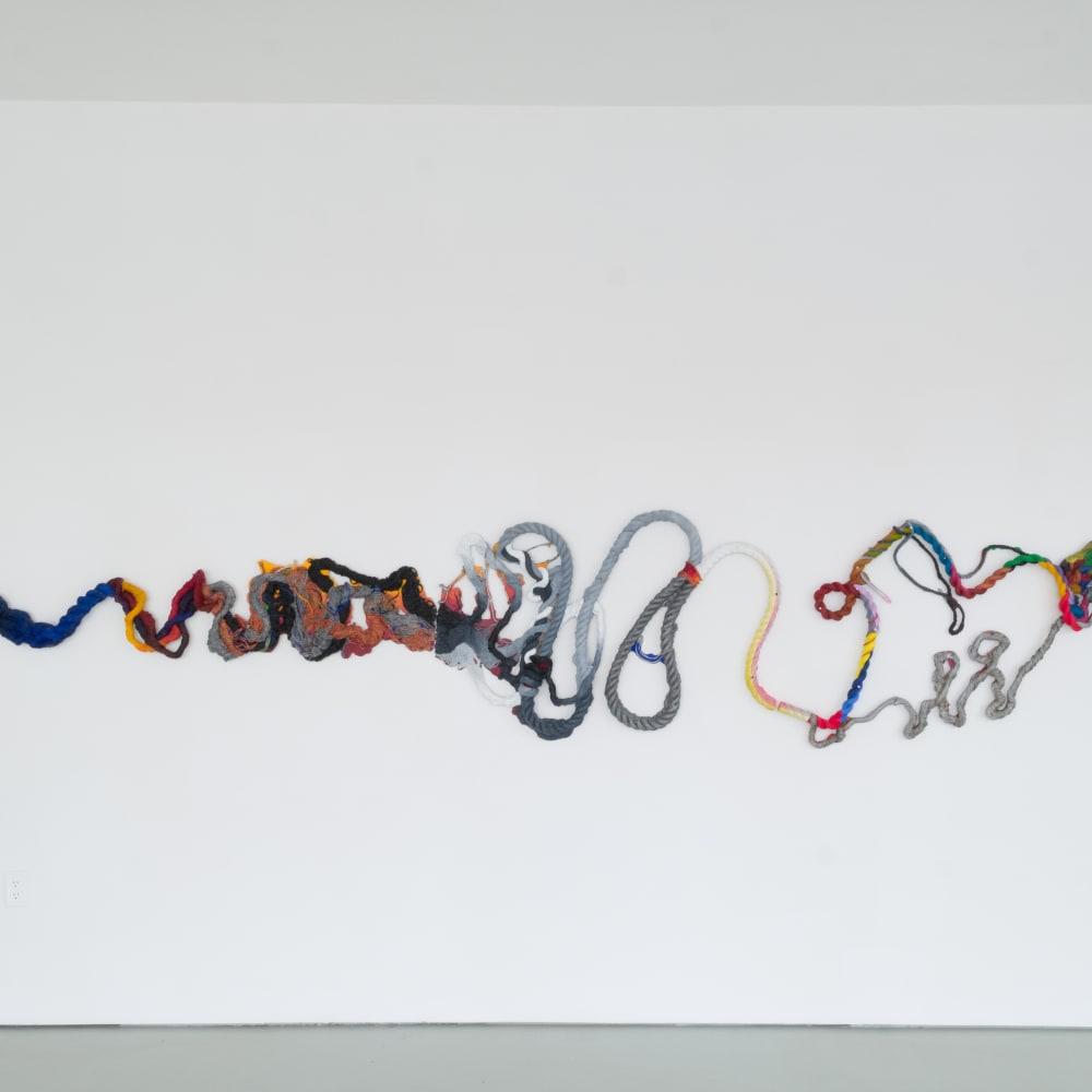 Katy Cowan, (itself; as far) Position (2019). Oil and enamel paint, graphite on cast aluminum, 36 x 170 x 2...