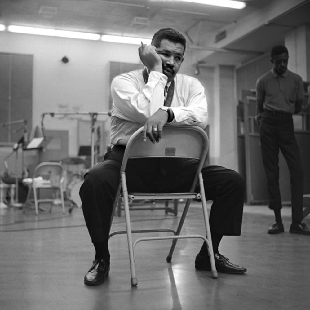 Kwame Brathwaite, Untitled (Cannonball Adderley, Great Northern Hotel. Listening to playback) (early 60s). Archival pigment print. Courtesy of the artist and Philip Martin Gallery, Los Angeles.