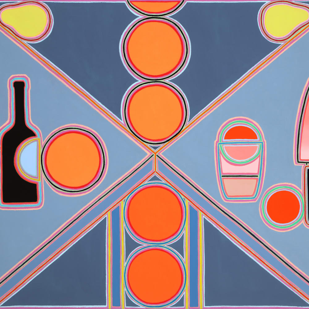 Holly Coulis, Orange Column, Bottle, and Knife (2018). Image courtesy of the artist and Philip Martin Gallery, Los Angeles.