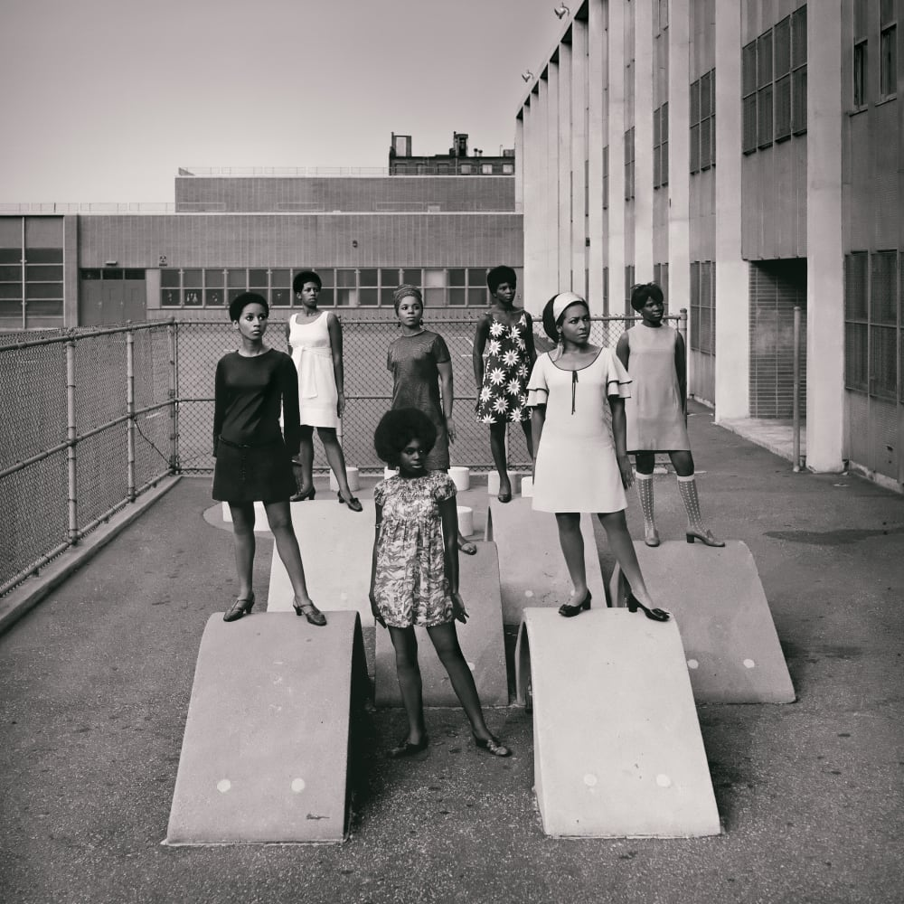Kwame Brathwaite, Untitled (Photoshoot at a school for one of the many modeling groups who had begun to embrace natural hairstyles in the 1960s) (1966). Archival pigment print.