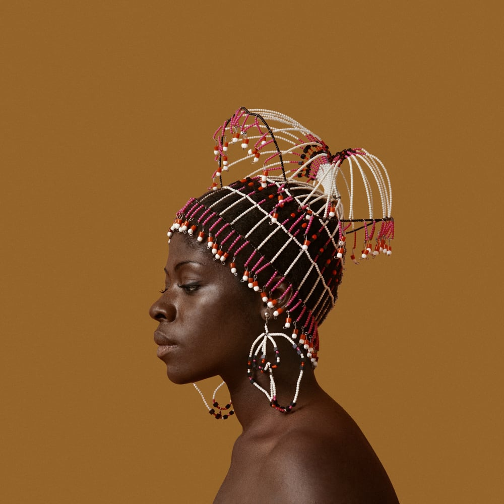 Kwame Brathwaite, Untitled (Sikolo Brathwaite with Headpiece designed by Carolee Prince) (1968). Archival pigment print.