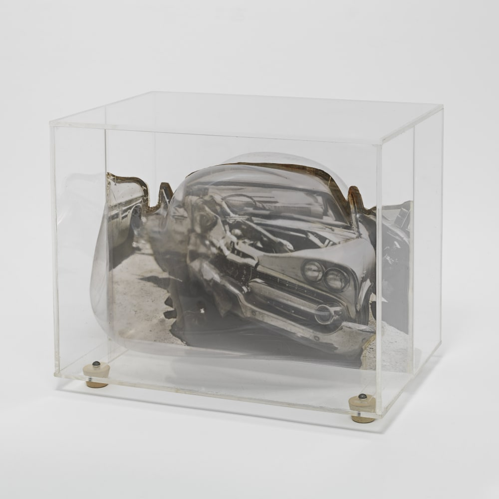 Carl Cheng, Car Wreck Sculpture - Black (1968). Film, molded plastic, plexiglass, 7 5/8 x 91/4 x 6 inches. Courtesy of the artist and Hauser & Wirth, New York. Photo: Genevieve Hanson.