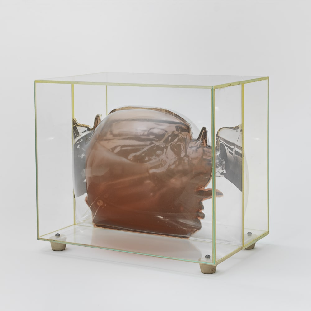 Carl Cheng, Car Wreck Sculpture - Red (1968). Film, molded plastic, plexiglass, 7 5/8 x 9 x 5 7/8 inches. Courtesy of the artist and Hauser & Wirth, New York. Photo: Genevieve Hanson.