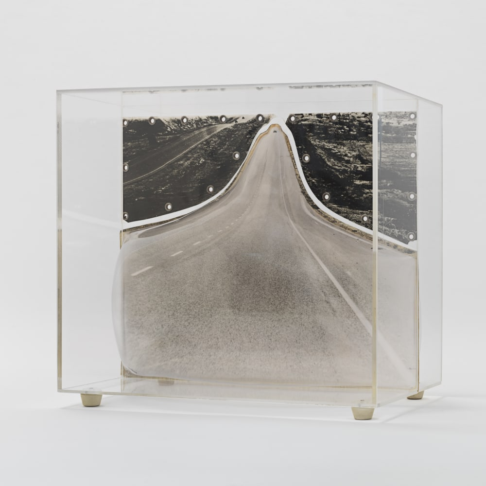 Carl Cheng, Road Trip (1968). Film, molded plastic, plexiglass, 10 7/8 x 11 7/8 x 11 1/4 inches. Courtesy of the artist and Hauser & Wirth, New York. Photo: Genevieve Hanson.