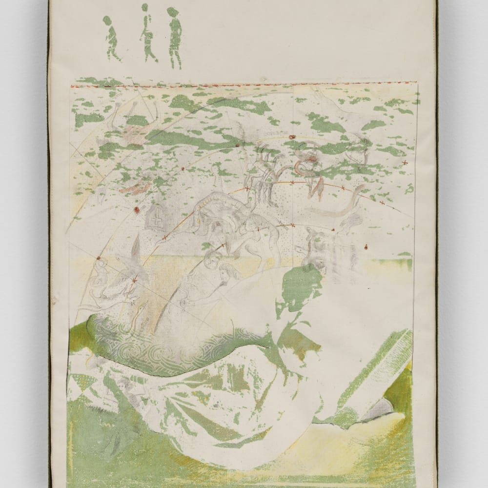 Bea Nettles, Bea Nettles - Beach & Constellations (1972). Gum bichromate print on buckram stretched on wood, embroidery, acrylic, pencil, 16 1/4 x 12 x 1 3/4 inches. Courtesy of the artist and Hauser & Wirth, New York. Photo: Genevieve Hanson.