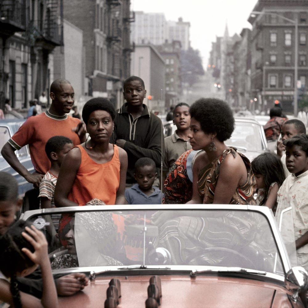Kwame Brathwaite, Untitled (Garvey Day, Deedee in Car) (1965). Archival pigment print.