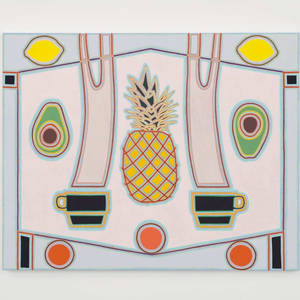 Holly Coulis, Pineapple and Coffees (2019). Oil on linen, 40 x 50 inches.