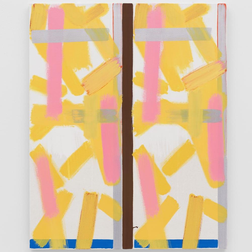 Bernard Piffaretti, Untitled, 2013. Acrylic on canvas, 31 7/8 x 25 1/2 x 7/8 inches. Courtesy of the artist and...