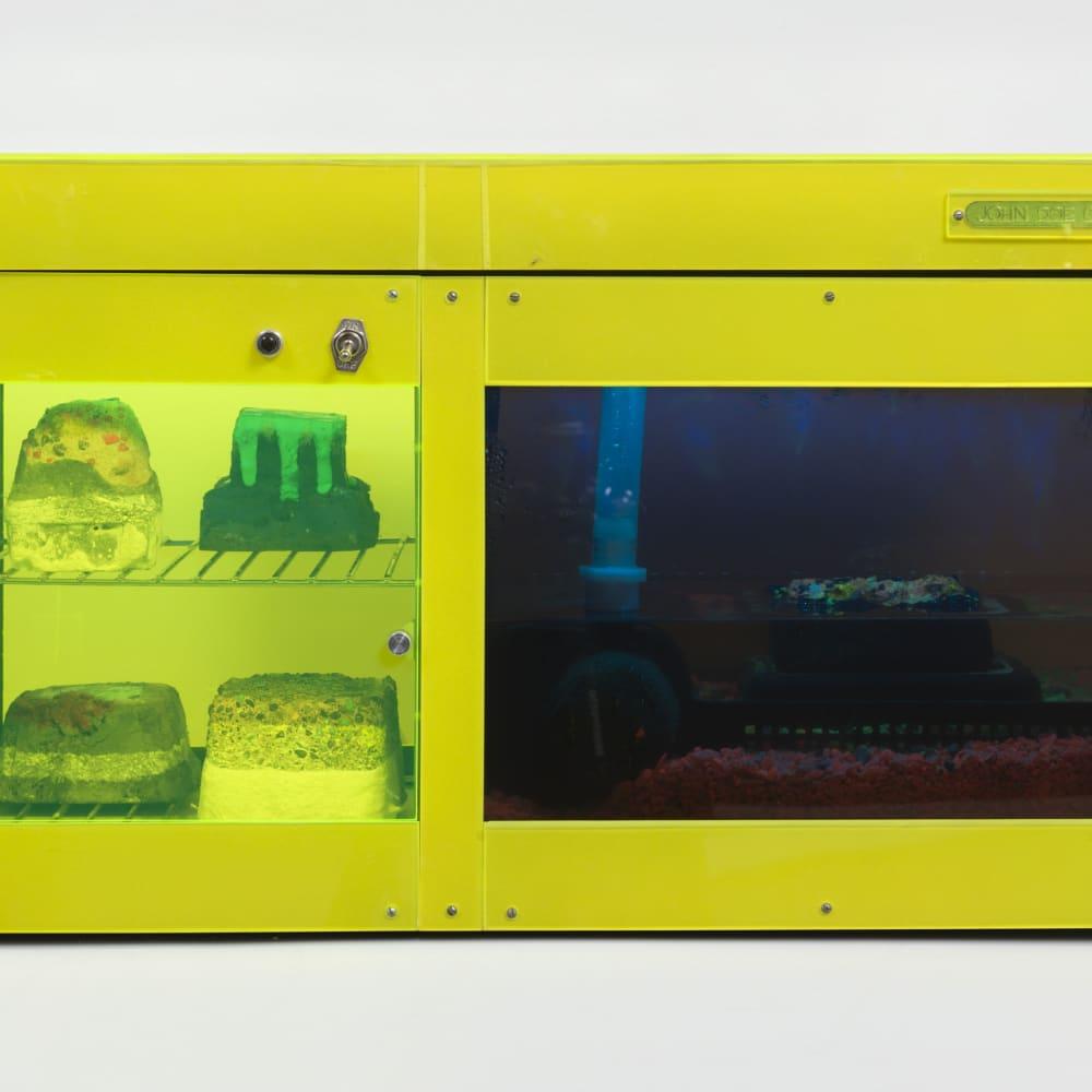 Carl Cheng, Erosion Machine No. 2 (1969). Plexiglas, metal racks and fittings, plastic, water pump, LED lights, black light, pebbles,...