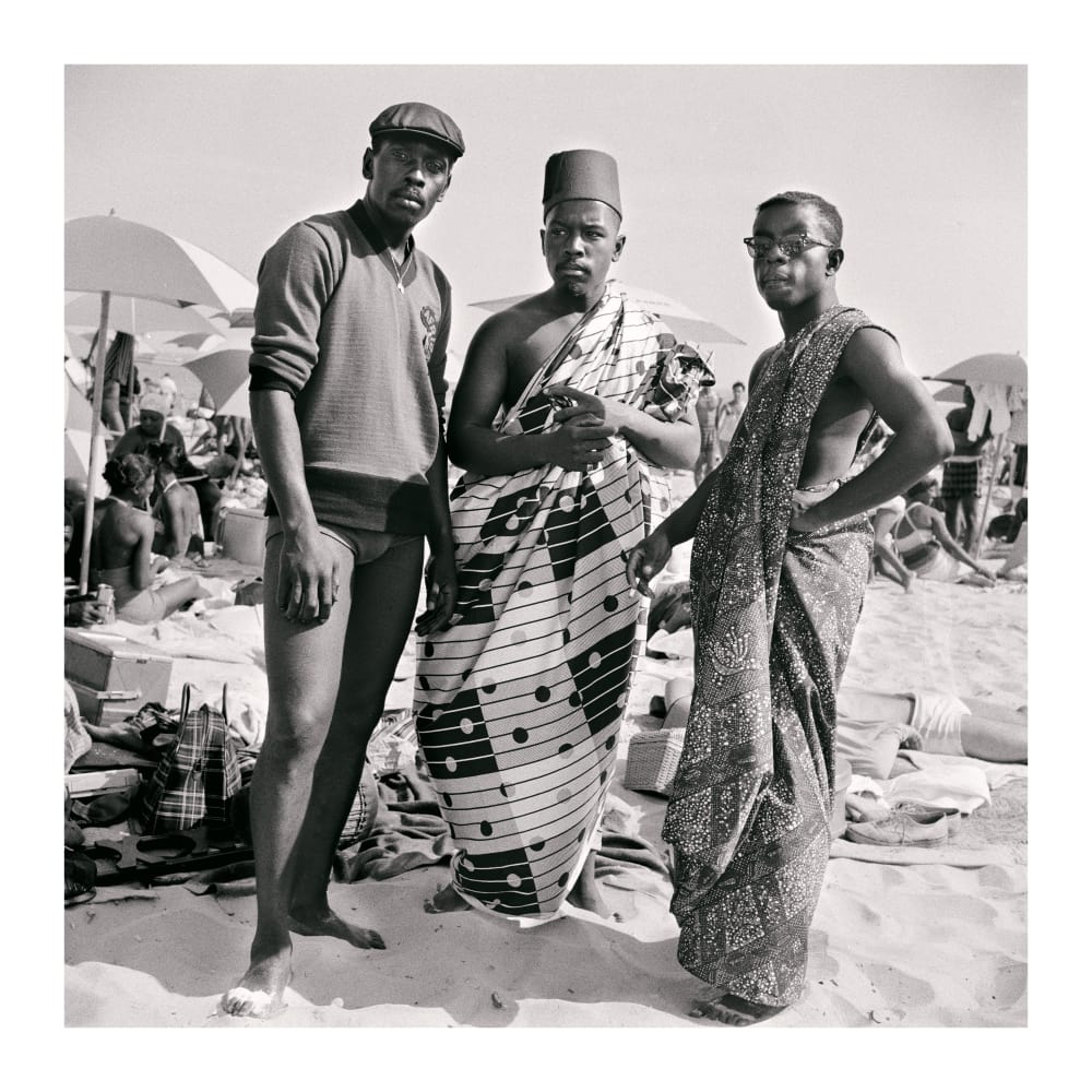Untitled (Riis Beach with Jimmy, Kwame and Elombe), 1963. Credit Kwame Brathwaite/Courtesy of Philip Martin Gallery, Los Angeles