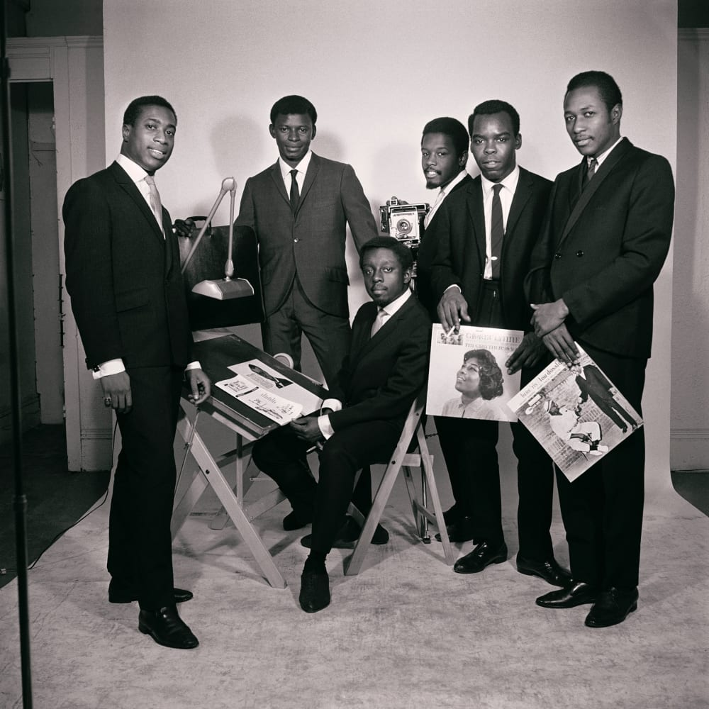 Untitled (Original African Jazz Arts Society and Studios members, left to right: Robert Gumbs, Frank Adu, Elombe Brath, Kwame Brathwaite, Ernest Baxter and Chris Hall), 1965. Credit Kwame Brathwaite/Courtesy of Philip Martin Gallery, Los Angeles
