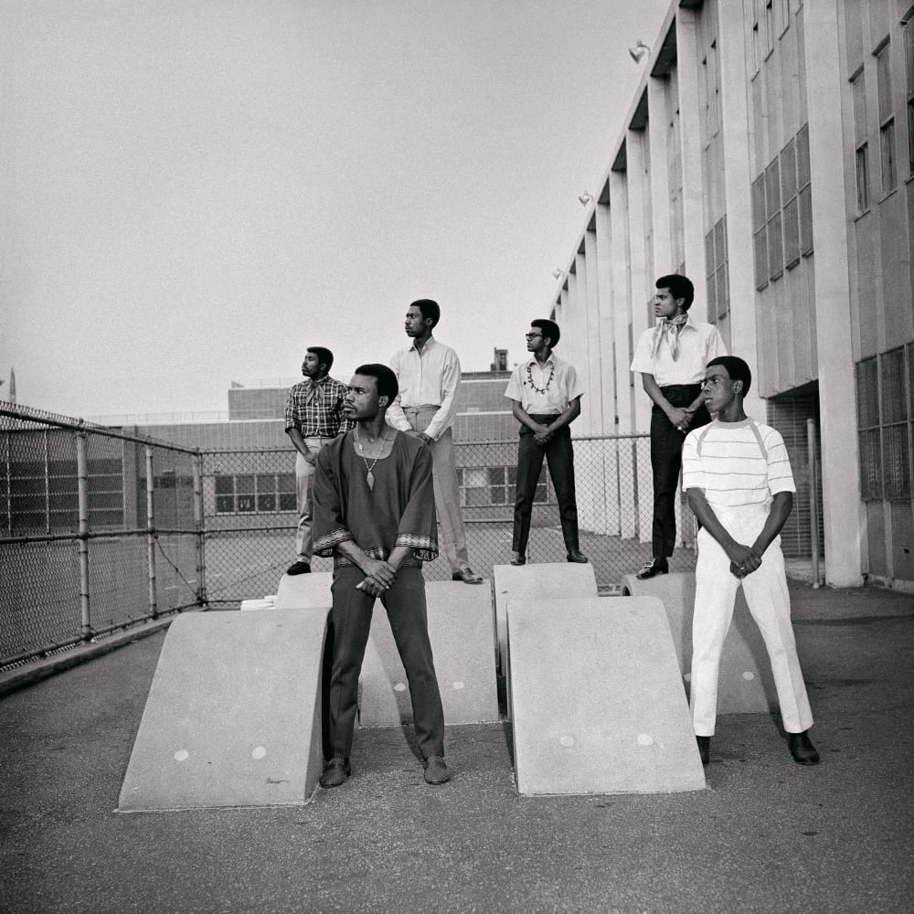 Untitled (Men at photoshoot at a school in the 1960s), 1966. Credit Kwame Brathwaite/Courtesy of Philip Martin Gallery, Los Angeles