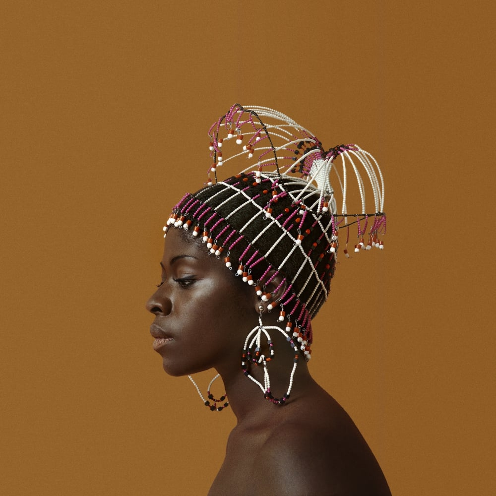 Untitled (Sikolo Brathwaite with Headpiece designed by Carolee Prince), 1968. Credit Kwame Brathwaite/Courtesy of Philip Martin Gallery, Los Angeles