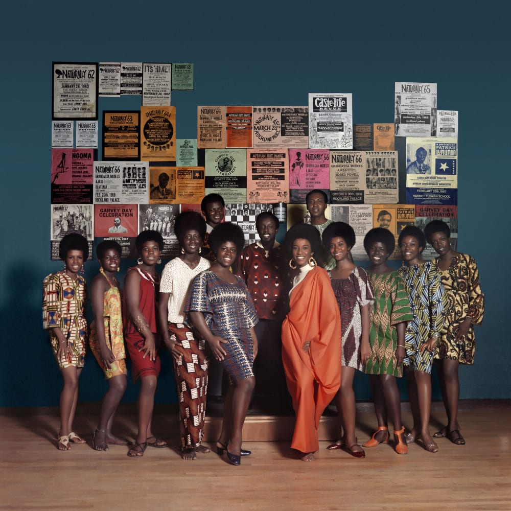 Kwame Brathwatie, Untitled (Naturally '68 Photo Shoot in the Apollo Theater featuring Grandassa Models and Founding members of AJASS (Frank Adu, Elombe Brath and Ernest Baxter)) (1968). Image courtesy of the artist and Philip Martin Gallery, Los Angeles.