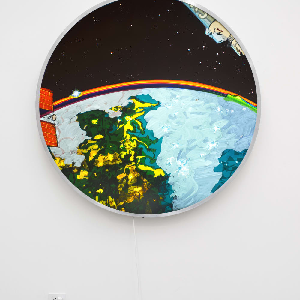 T. Kelly Mason, Keyhole Satellite USA-186 (Conceptual Rendering-Actual Photos of USA-186 are Classified) Eastern Seaboard Lightning Storm, Northern Lights, Moonrise (2015). Image courtesy of the artist and Philip Martin Gallery, Los Angeles.