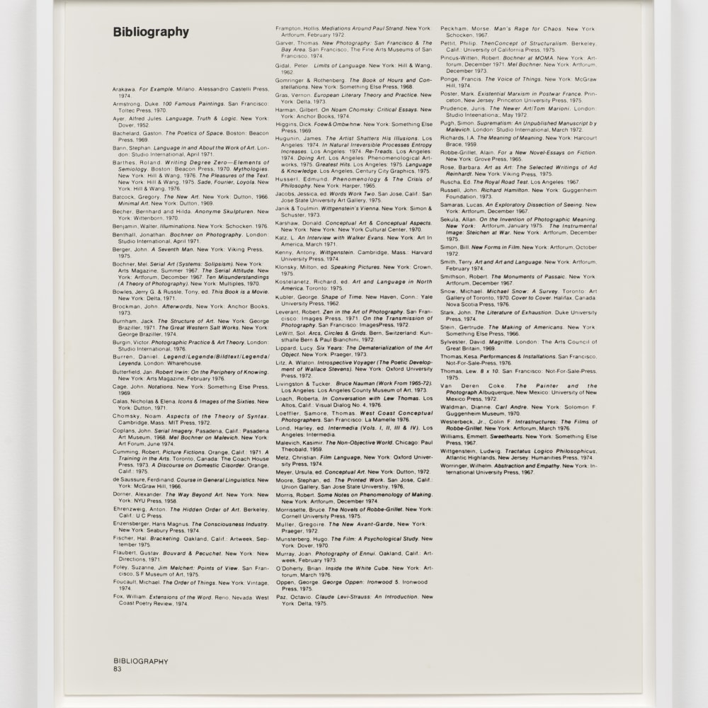 Lew Thomas, BIBLIOGRAPHY 1, 1976 (1976). Gelatin silver print, 23 1/2 x 20 inches. Image courtesy of the artist and Philip Martin Gallery, Los Angeles.