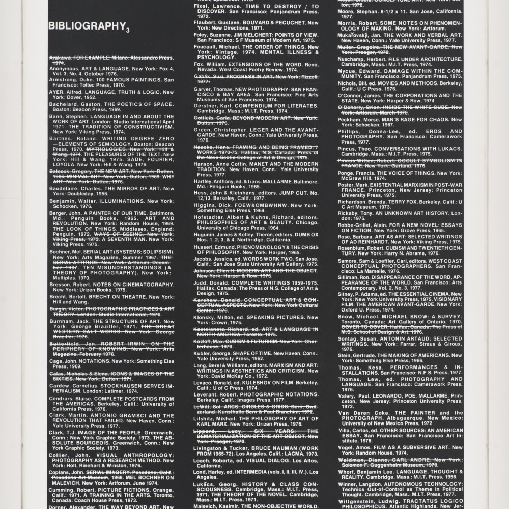 Lew Thomas, BIBLIOGRAPHY 3 (1977). Gelatin silver print, 24 x 20 inches. Image courtesy of the artist and Philip Martin Gallery, Los Angeles.