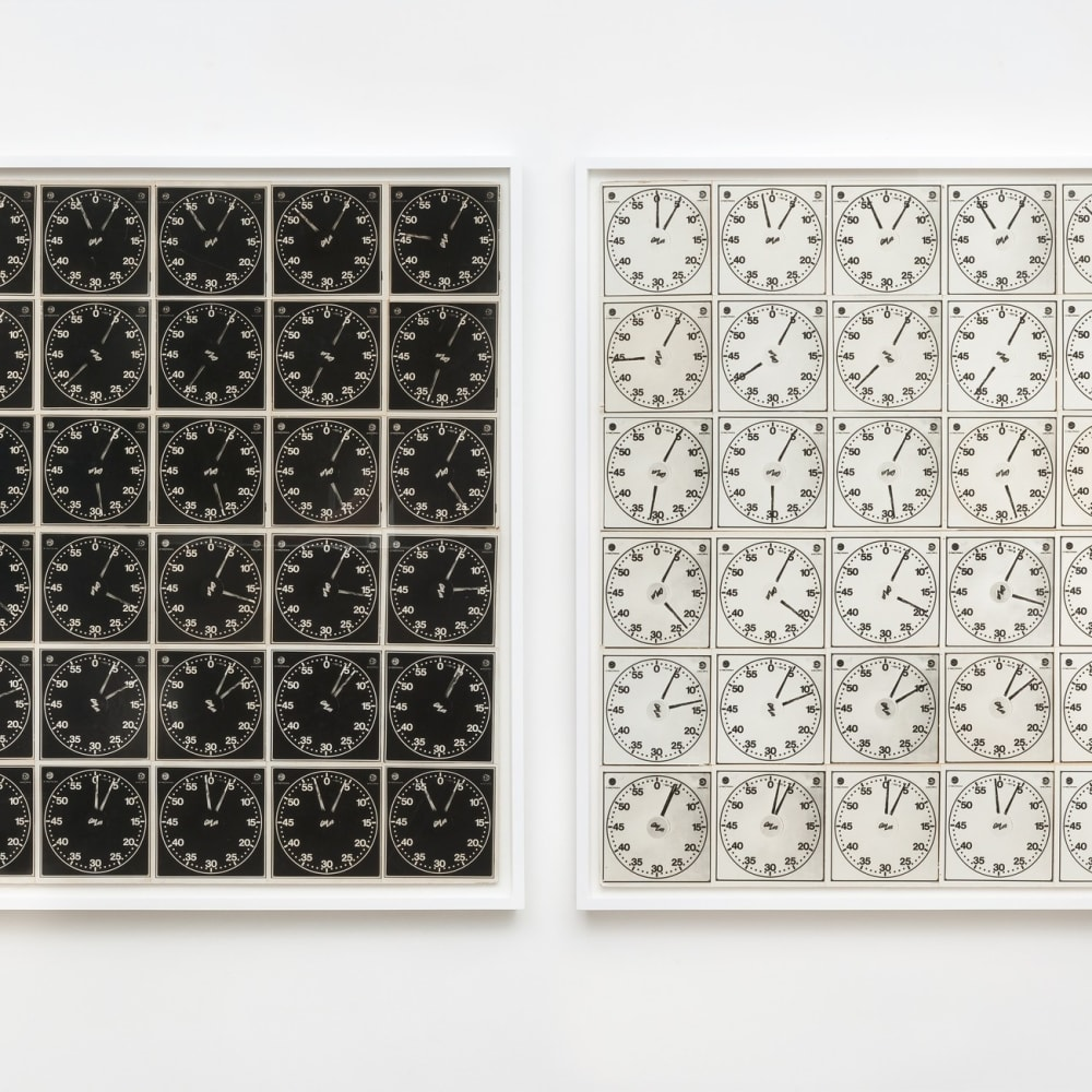 """Lew Thomas, """"TIME EQUALS 36 EXPOSURES (negative and positive sections),"""" (1971/2015). 72 gelatin silver prints, mounted and framed, 2-part, 48..."""