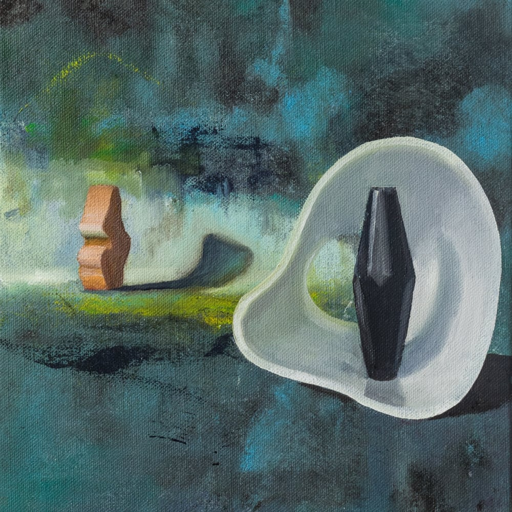 Foxes Sing in Flight - A homage to Barbara Hepworth, 2018, Oil on canvas, 24 x 19 cm
