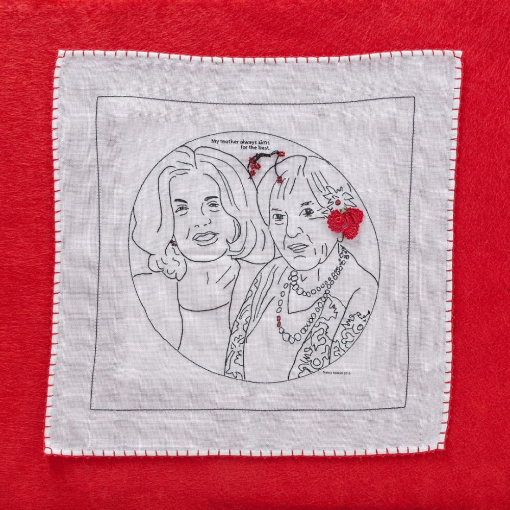 Patricia, 2016, linen, digital print, needlework wrapped in red felt, 35 x 35 cm