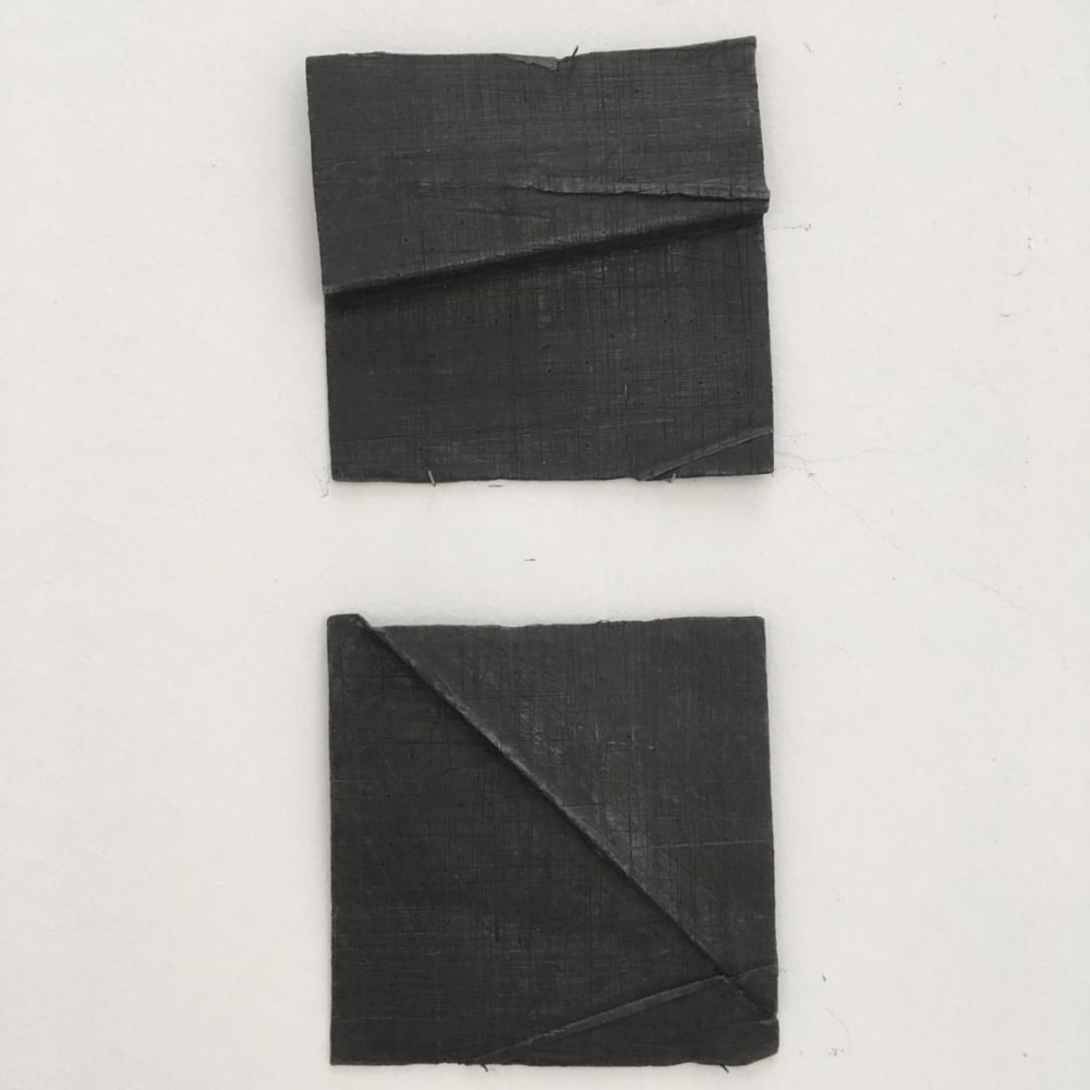 Meditation 1, 2004 - 2019, folded lead drawing, dyptic, 15 x15 cm