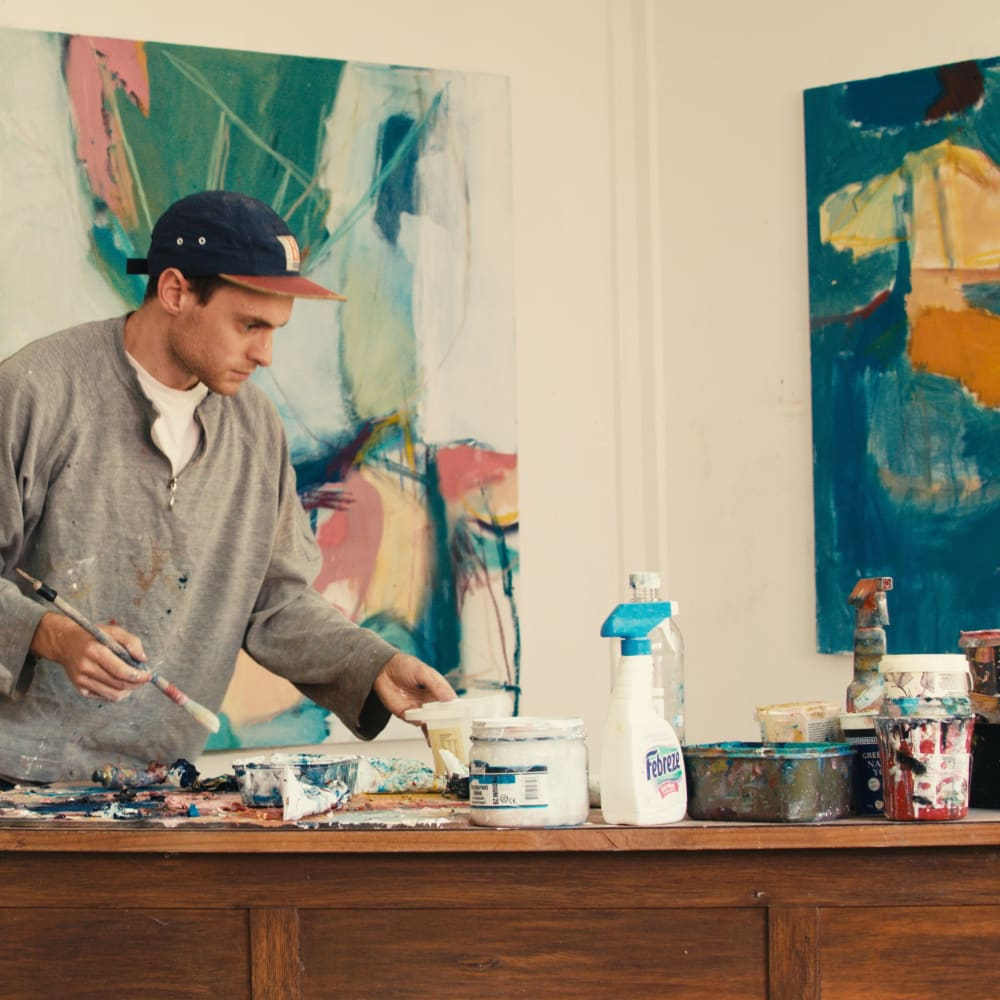 Artist Gene A'Hern in the studio