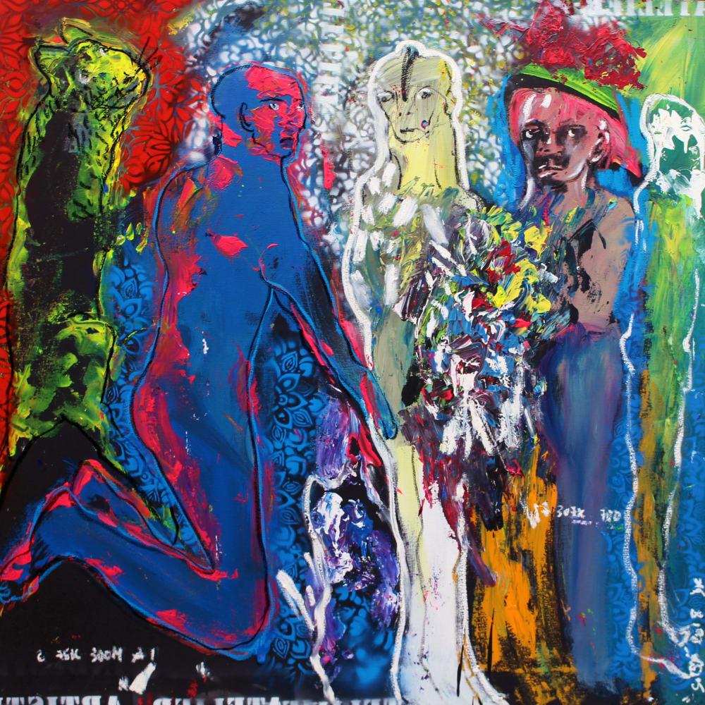 Soly Cissé l The Important V l 2018 l Acrylic and oil pastel on canvas l 120x120cm