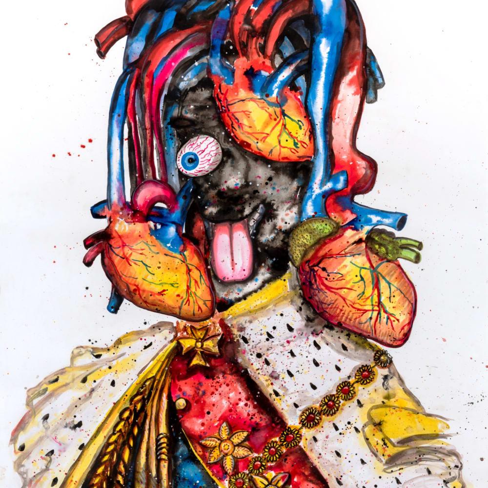 Steve Bandoma I Roi émotif (Costumes Series) I 2018 I Ink on Canson paper I 120 x 100 cm