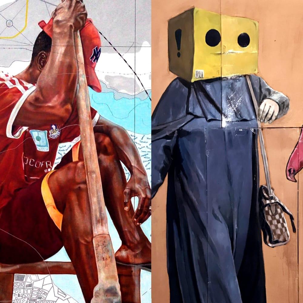(Left) Jean-David Nkot l www.Illusionofajourney.com l 2018 l Acrylic on canvas l 200x170cm l (Right) Mohamed Said Chair l The Ladies 2 l 2018 l Oil on Vinyl glue on cardboard l 205x145cm (Right)