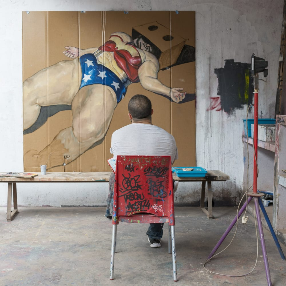 Mohamed Saïd Chair in his studio at Jardin Rouge. Image courtesy of Montresso* Art Foundation