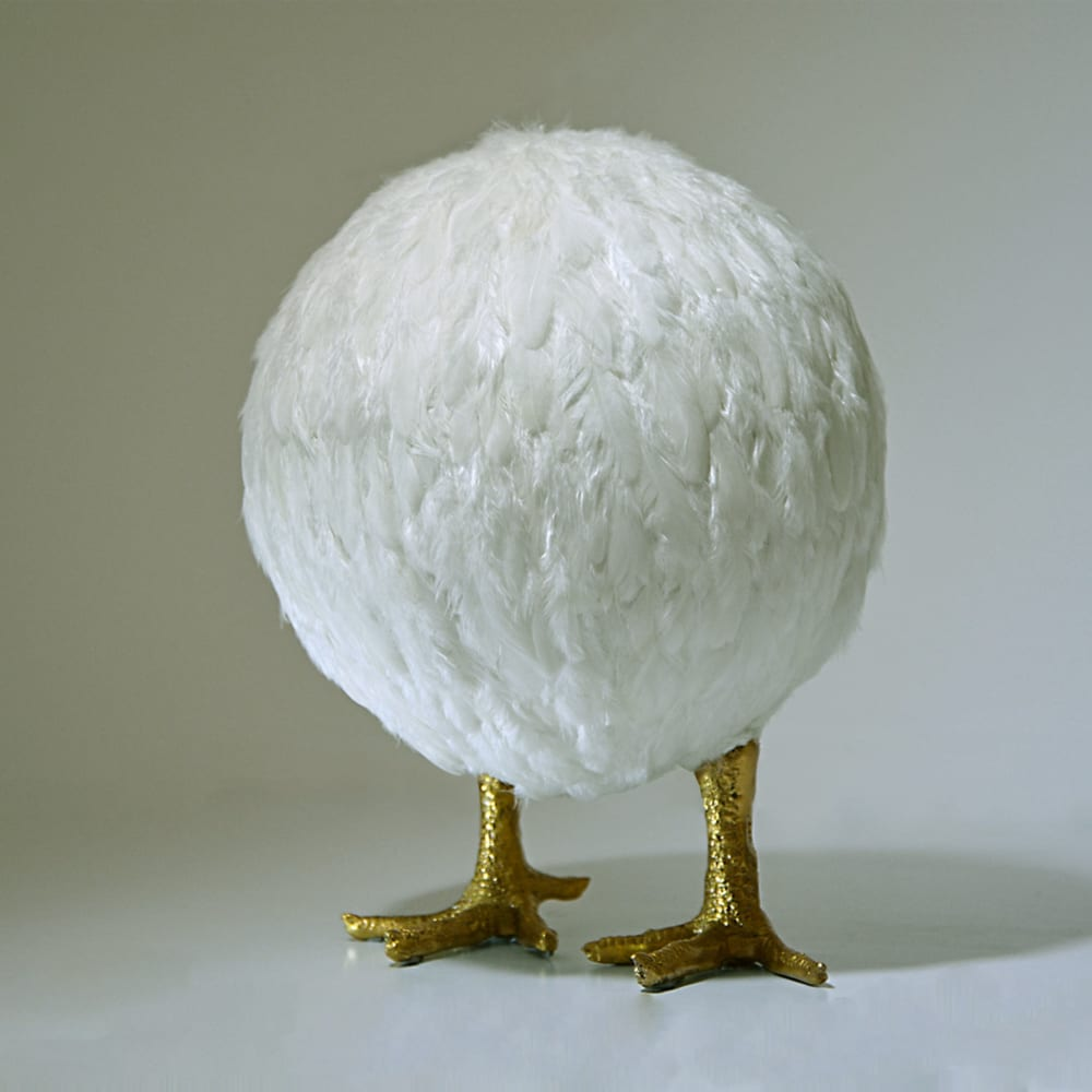 Nafie Ben Krich I Chicken Ball II I 2015 I Chicken feathers, gold leaf on polyester mold I 26,5 x 20 cm