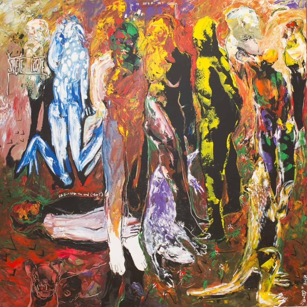 Soly Cissé I Des Hommes et Des Vies III I2017 I Acrylic and oil pastel on canvas I 200 x 200 x 3 cm