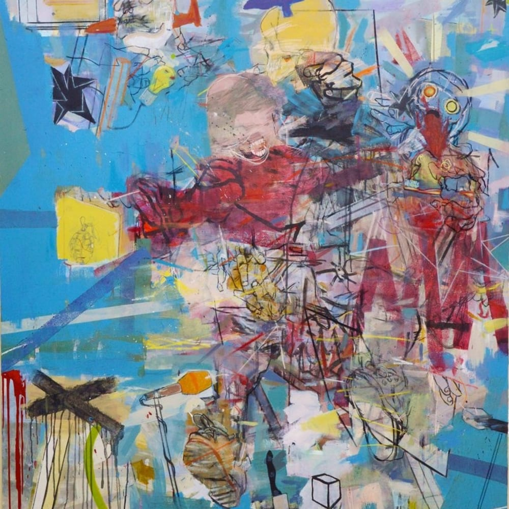Thameur Mejri I War outside I Mixed media on canvas I 180 x 140 cm