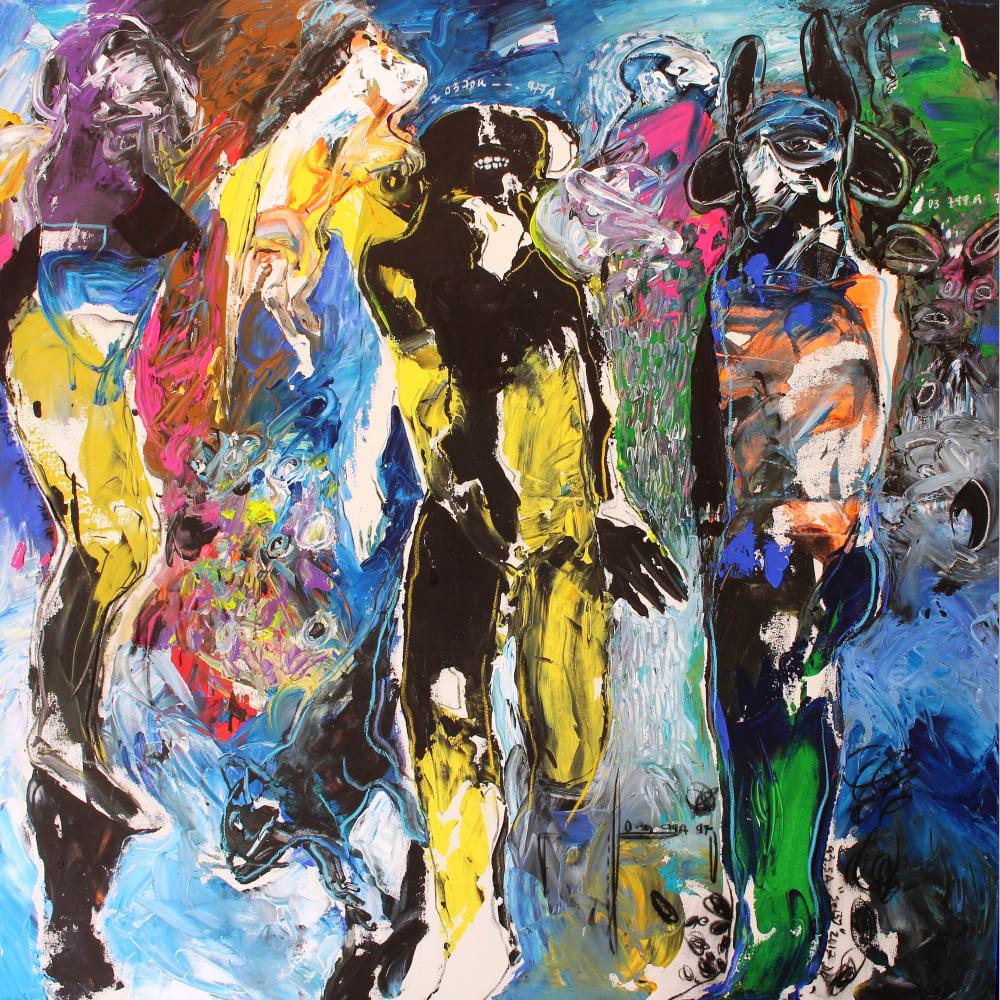 Soly Cissé 'The Fugitive' 2017 Acrylic and oil pastel on canvas 150 x 150 x 5 cm