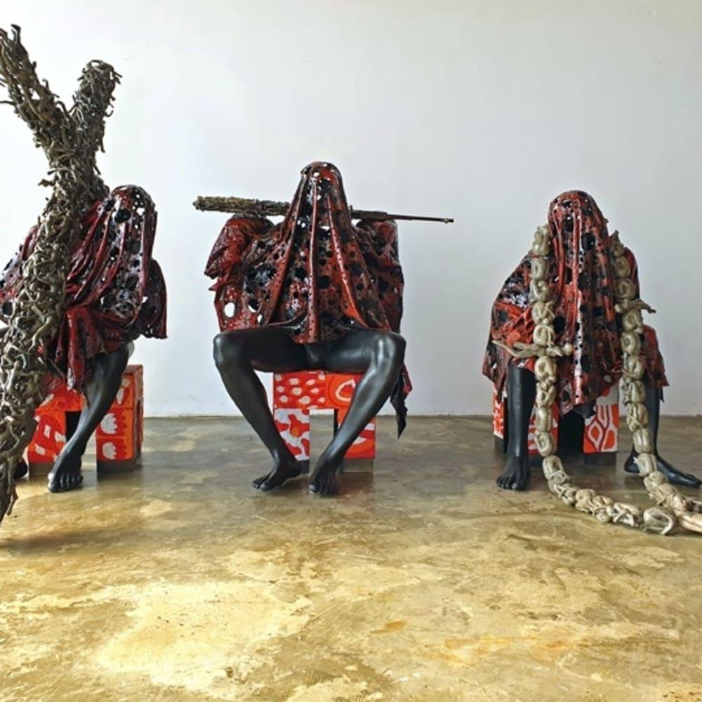 Péju Alatise I Lagbaja, Tamedu ati Ogbeni (Anybody, Nobody, Somebody) I, II, III  I 2019 I Metal, wood, glass beads, resin and stone cast I Dimensions variable. Image courtesy of AICON Gallery