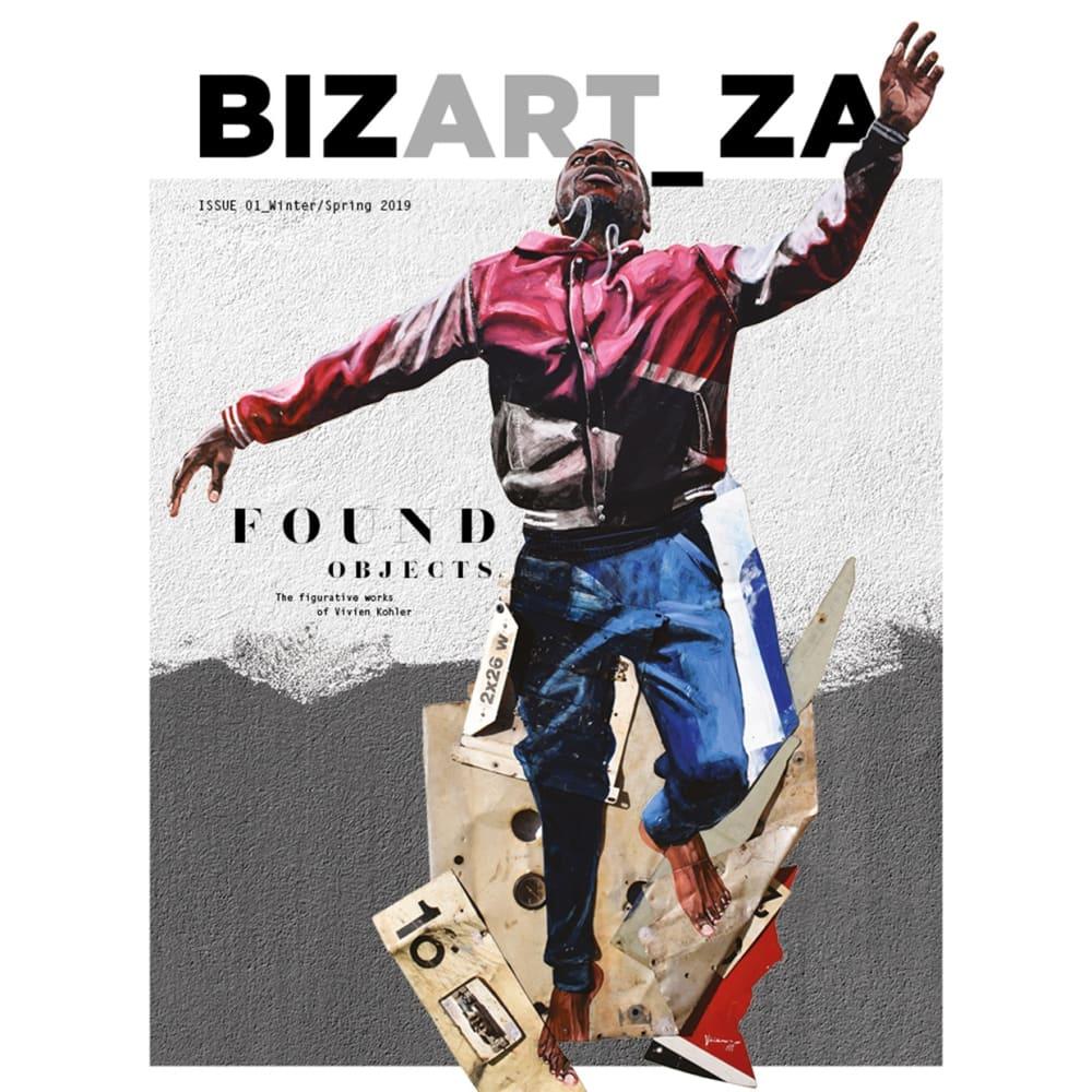 Cover of BIZART_ZA Issue 01 - Winter/Spring. Image credit: Vivien Kohler I Aither I 2017 I Oil on found metal...