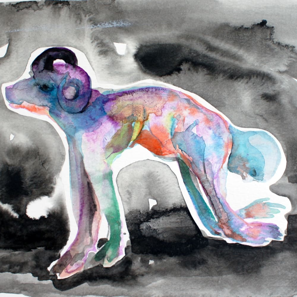 Isabelle Grobler, The Cannibals' Concupiscence : Communion with Mercy 2, 2020, Water colour on paper, 25 x 18 cm