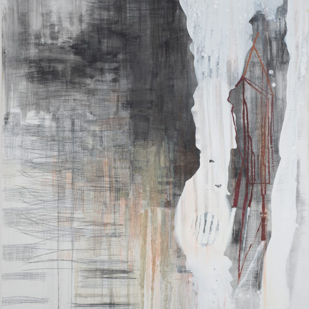 KYLIE HEIDENHEIMER - Drop, 2012, graphite, charcoal, oil on canvas, 60 x 54 in.
