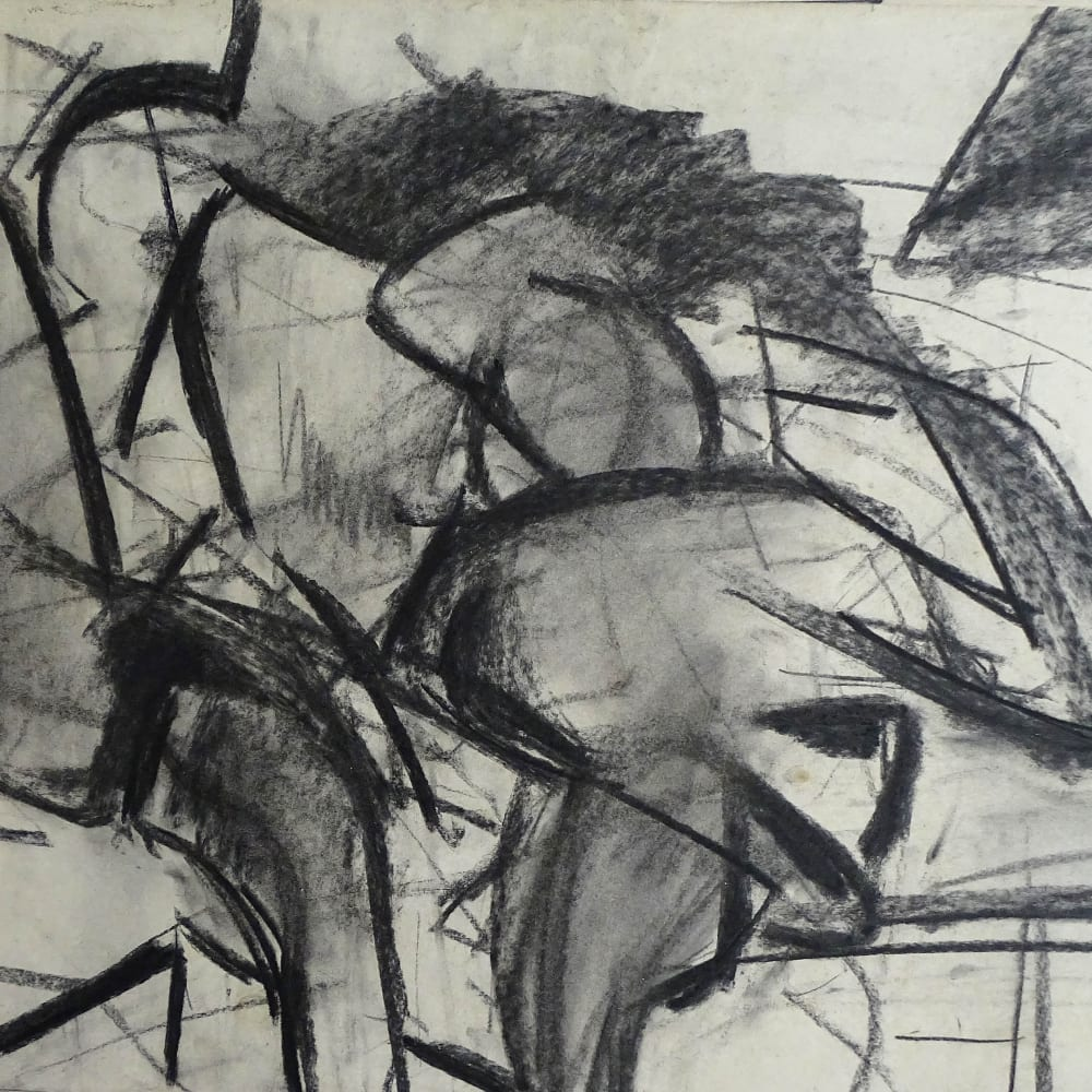 Lovers Study No.3, c.1970 Charcoal on paper 22 x 30 in