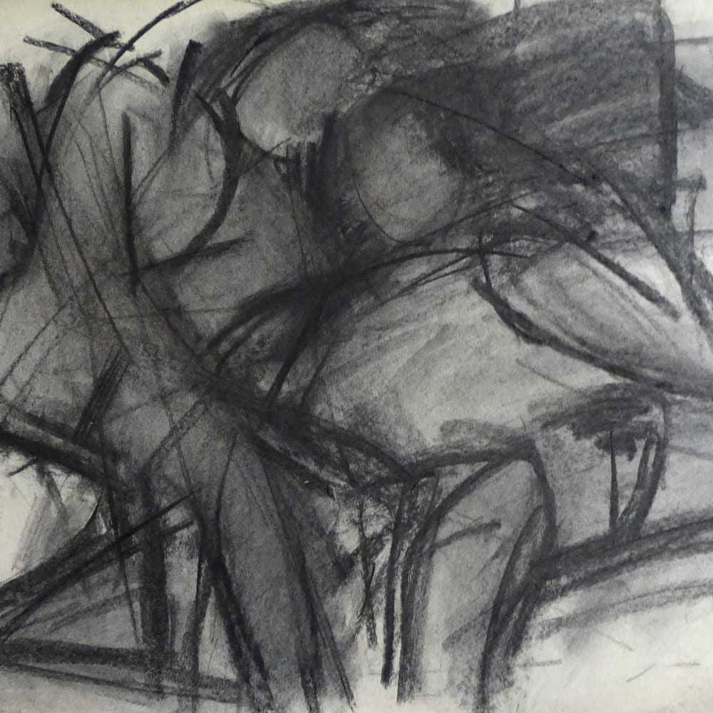 Lovers Study No.4, c.1970 Charcoal on paper 22 x 30 in