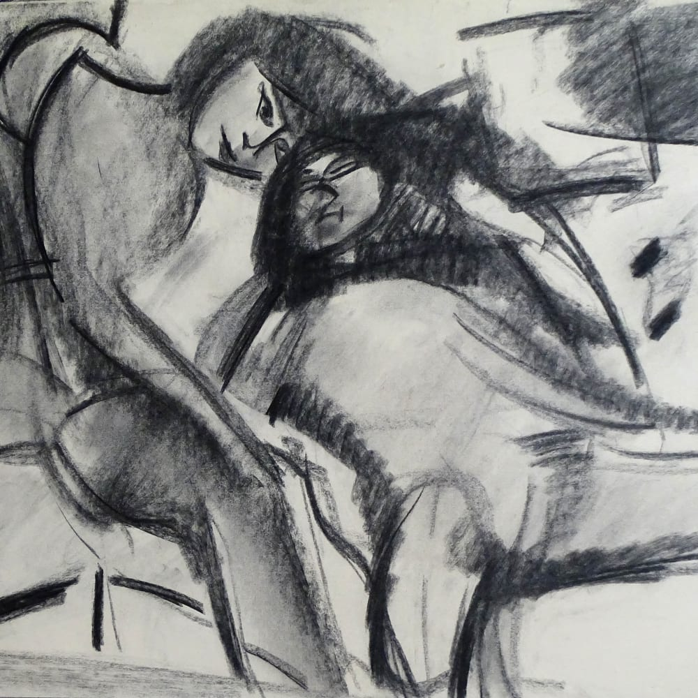 Lovers Study No.6, c.1970 Charcoal on paper 22 x 30 in