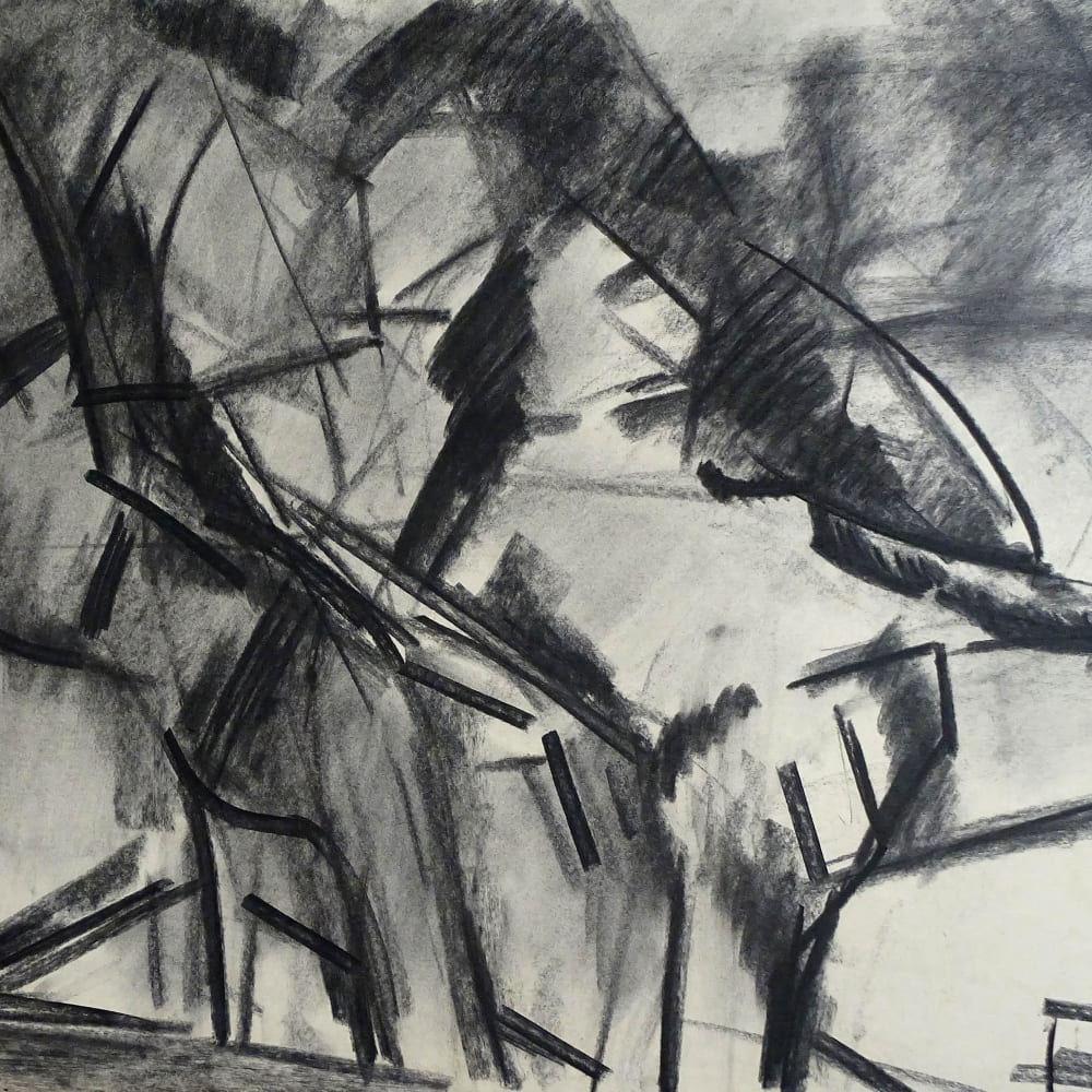 Lovers Study No.8, c.1970 Charcoal on paper 22 x 30 in