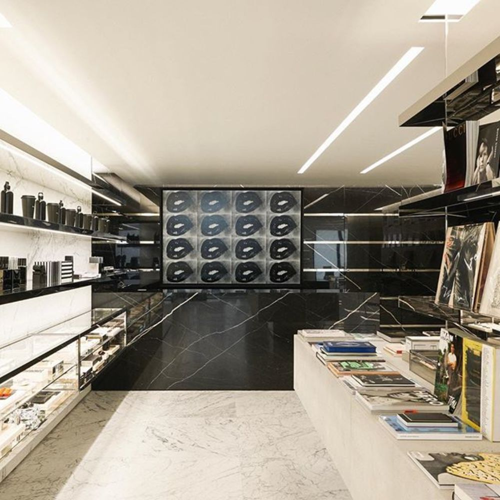 At the recently opened Saint Laurent Rive Droite store in Paris, described by the house as a creativ...